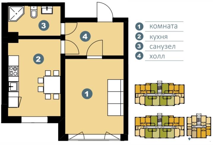 Планировка Однокомнатная квартира площадью 39.54 кв.м в ЖК «Шведские пруды»