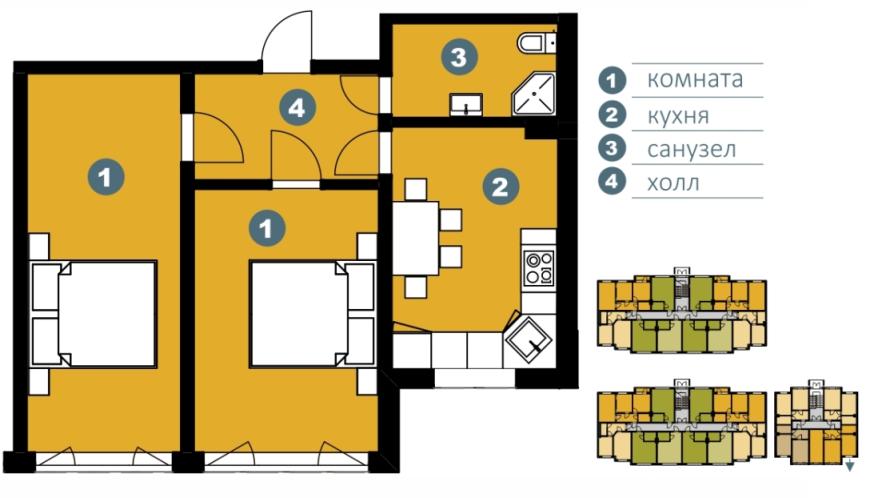 Планировка Двухкомнатная квартира площадью 57.4 кв.м в ЖК «Шведские пруды»