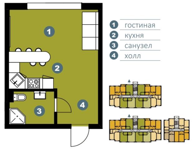 Планировка Студия площадью 30.53 кв.м в ЖК «Шведские пруды»