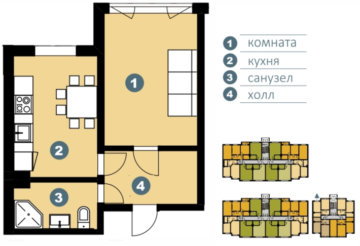 Планировка Однокомнатная квартира площадью 43.58 кв.м в ЖК «Шведские пруды»