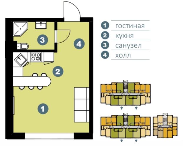 Планировка Студия площадью 30.91 кв.м в ЖК «Шведские пруды»