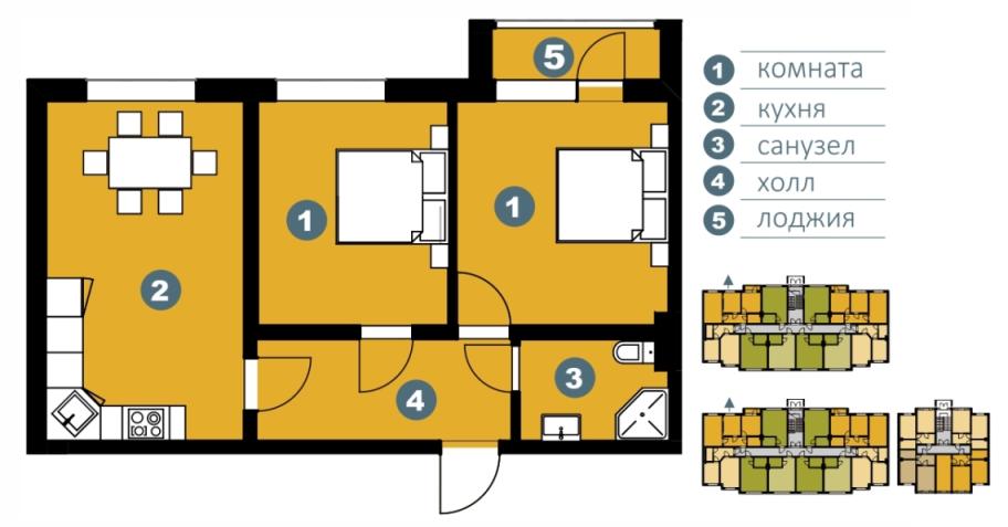 Планировка Двухкомнатная квартира площадью 59.66 кв.м в ЖК «Шведские пруды»