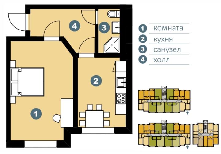 Планировка Однокомнатная квартира площадью 42.12 кв.м в ЖК «Шведские пруды»
